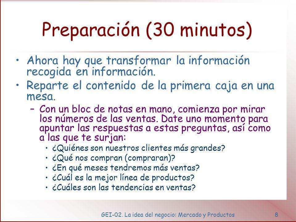 GEI-02. La idea del negocio: Mercado y Productos8 Preparación (30 minutos) Ahora hay que transformar la información recogida en información. Reparte e