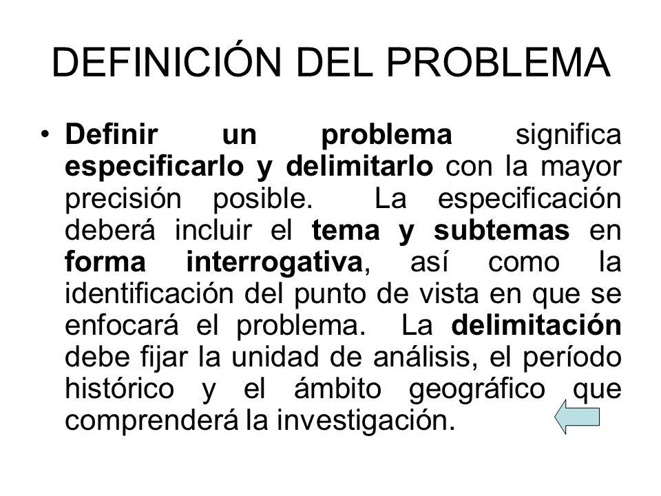 DEFINICIÓN DEL PROBLEMA Definir un problema significa especificarlo y delimitarlo con la mayor precisión posible. La especificación deberá incluir el
