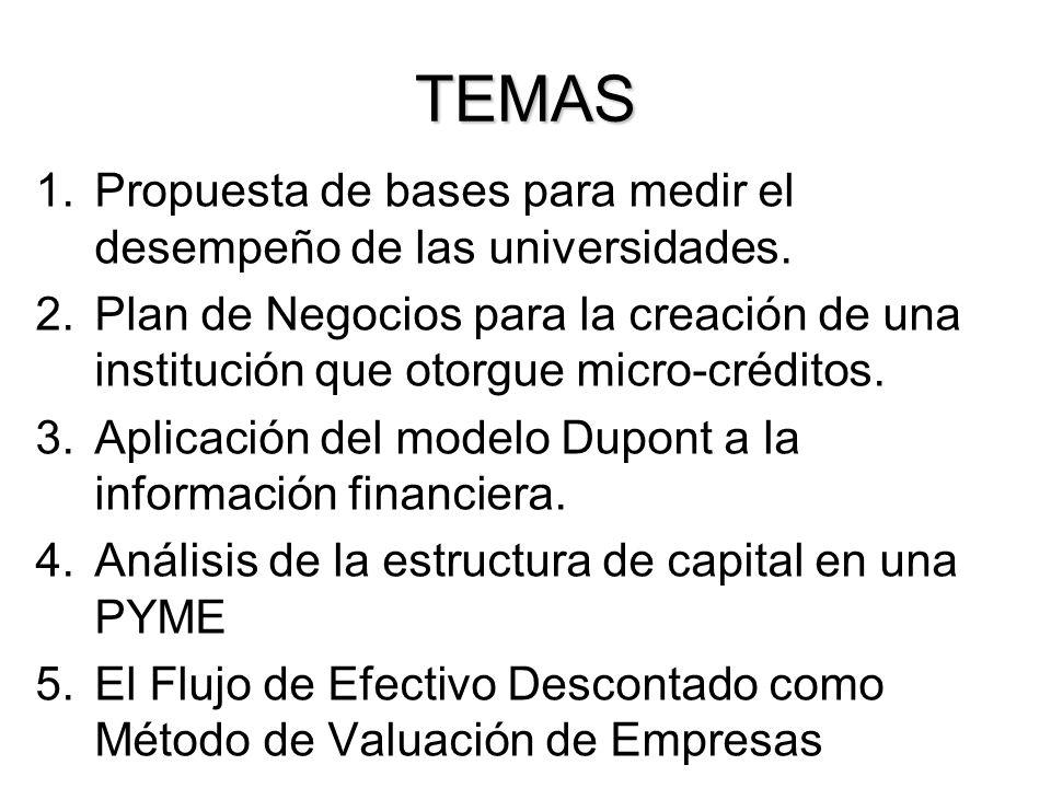 TEMAS 1.Propuesta de bases para medir el desempeño de las universidades. 2.Plan de Negocios para la creación de una institución que otorgue micro-créd