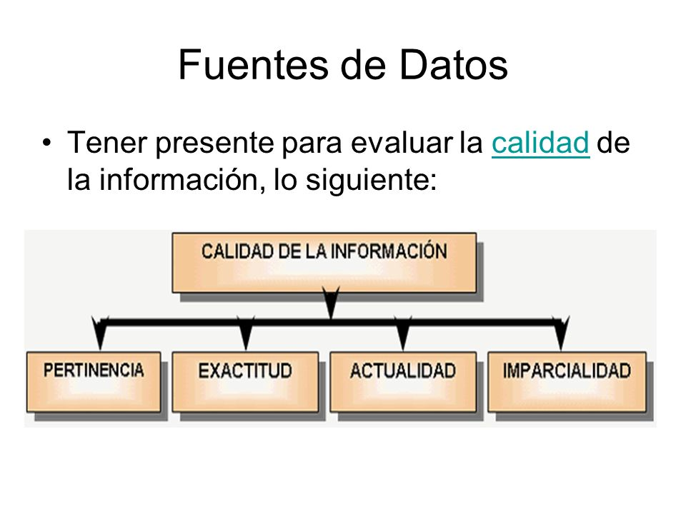 Fuentes de Datos Tener presente para evaluar la calidad de la información, lo siguiente:calidad