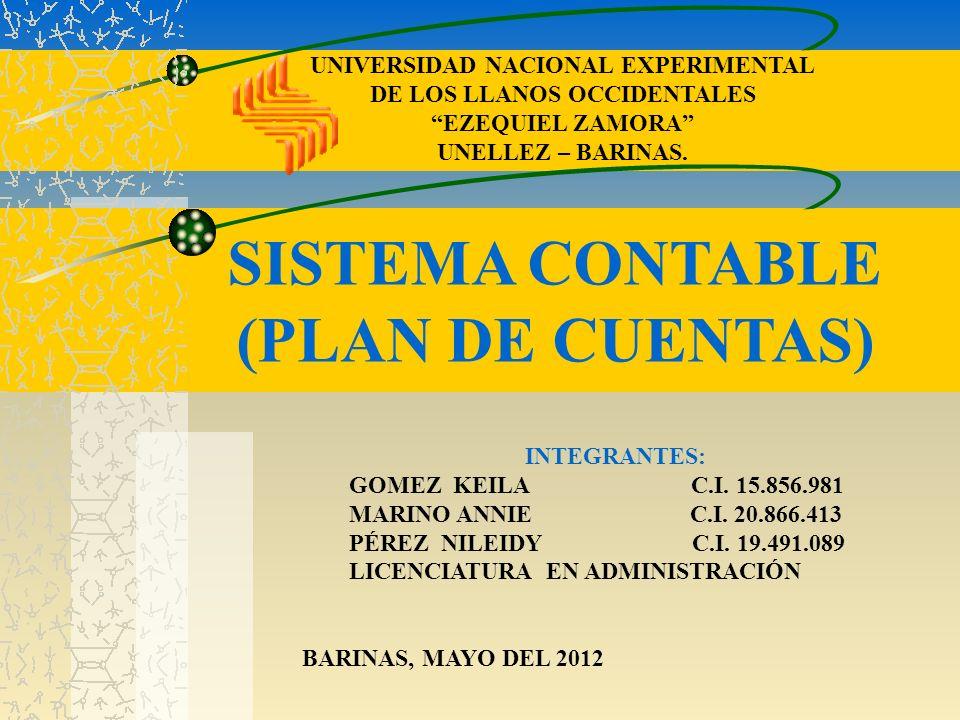 UNIVERSIDAD NACIONAL EXPERIMENTAL DE LOS LLANOS OCCIDENTALES EZEQUIEL ZAMORA UNELLEZ – BARINAS. SISTEMA CONTABLE (PLAN DE CUENTAS) INTEGRANTES: GOMEZ