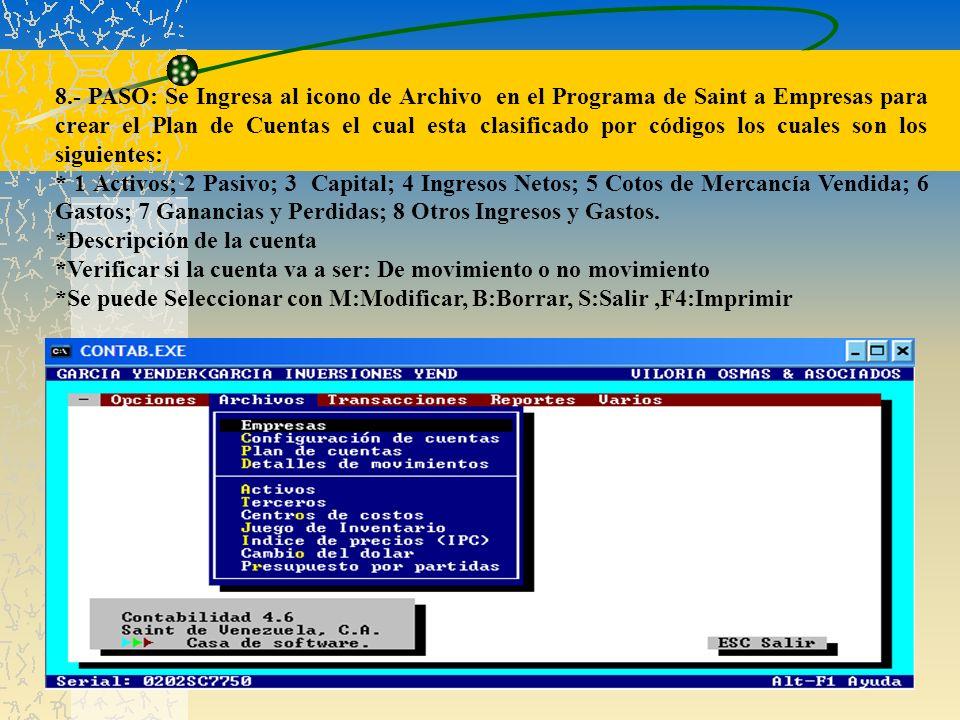 8.- PASO: Se Ingresa al icono de Archivo en el Programa de Saint a Empresas para crear el Plan de Cuentas el cual esta clasificado por códigos los cua