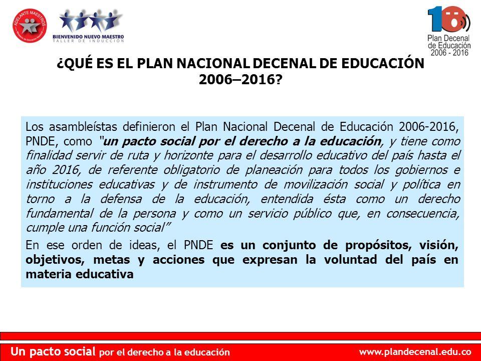 www.plandecenal.edu.co Un pacto social por el derecho a la educación CÓMO ACCEDER AL TEXTO COMPLETO DEL PNDE 2006-2016