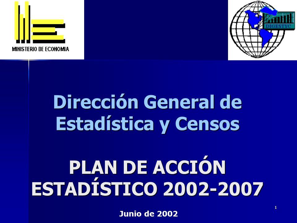 1 Dirección General de Estadística y Censos PLAN DE ACCIÓN ESTADÍSTICO 2002-2007 Junio de 2002