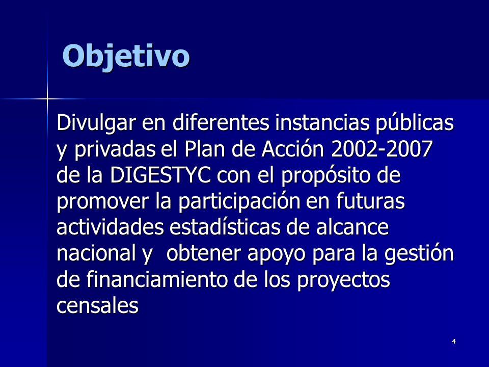 4 Objetivo Divulgar en diferentes instancias públicas y privadas el Plan de Acción 2002-2007 de la DIGESTYC con el propósito de promover la participación en futuras actividades estadísticas de alcance nacional y obtener apoyo para la gestión de financiamiento de los proyectos censales