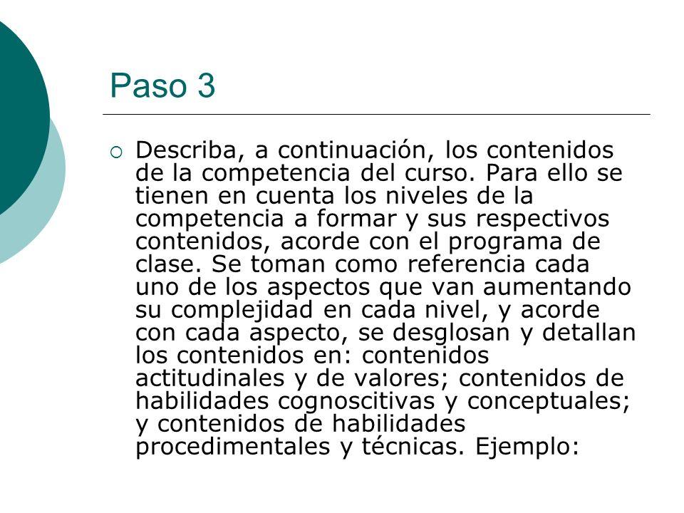 Paso 3 Describa, a continuación, los contenidos de la competencia del curso. Para ello se tienen en cuenta los niveles de la competencia a formar y su