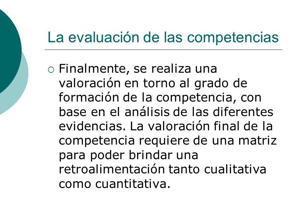La evaluación de las competencias Finalmente, se realiza una valoración en torno al grado de formación de la competencia, con base en el análisis de l