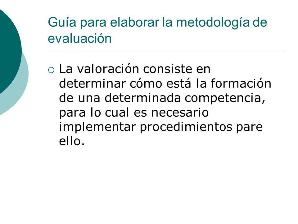 Guía para elaborar la metodología de evaluación La valoración consiste en determinar cómo está la formación de una determinada competencia, para lo cu