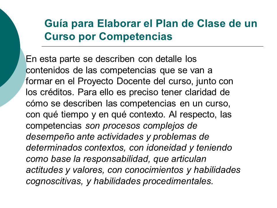 Guía para Elaborar el Plan de Clase de un Curso por Competencias En esta parte se describen con detalle los contenidos de las competencias que se van