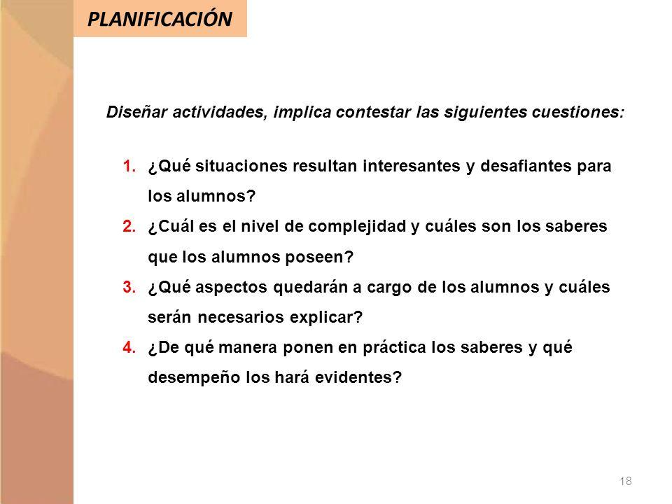 PLANIFICACIÓN Diseñar actividades, implica contestar las siguientes cuestiones: 1.¿Qué situaciones resultan interesantes y desafiantes para los alumno
