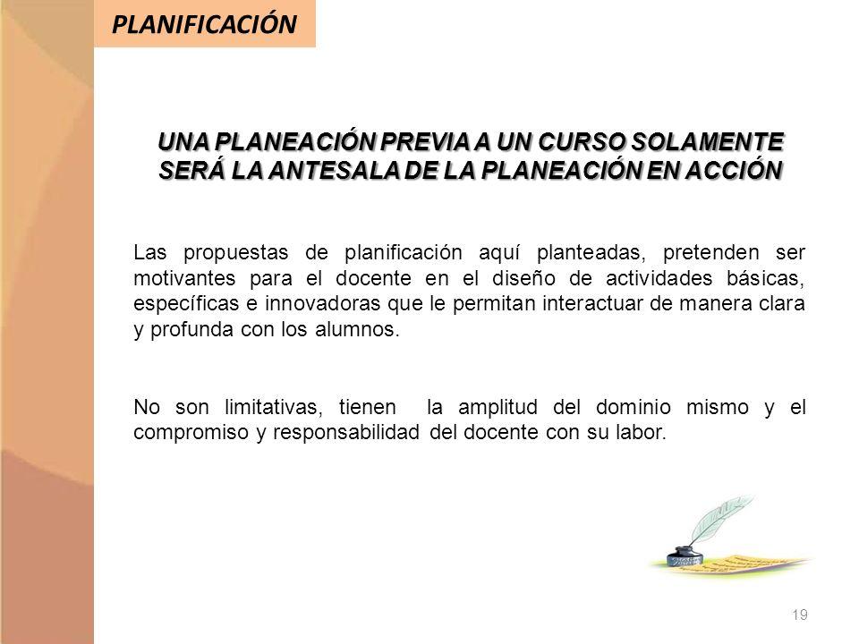 PLANIFICACIÓN 19 UNA PLANEACIÓN PREVIA A UN CURSO SOLAMENTE SERÁ LA ANTESALA DE LA PLANEACIÓN EN ACCIÓN Las propuestas de planificación aquí planteada