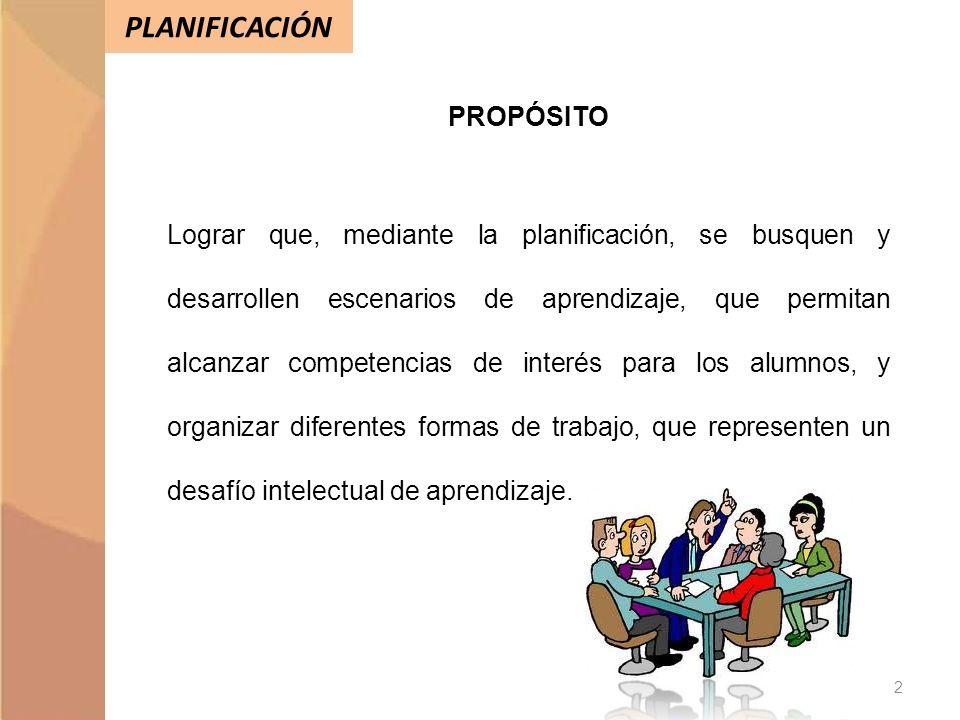 PLANIFICACIÓN PROPÓSITO Lograr que, mediante la planificación, se busquen y desarrollen escenarios de aprendizaje, que permitan alcanzar competencias