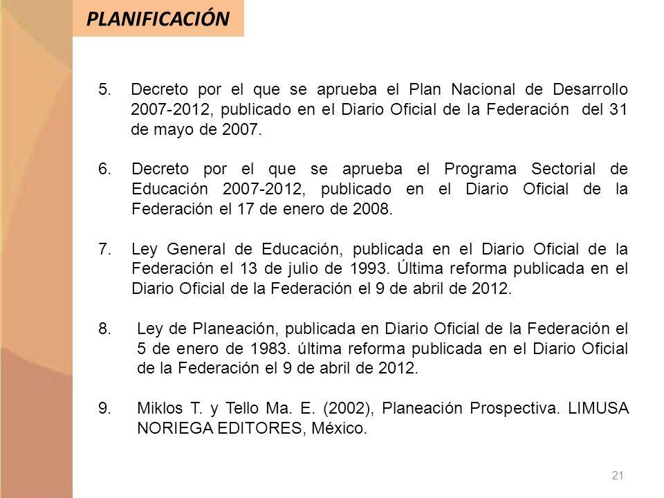 PLANIFICACIÓN 21 5.Decreto por el que se aprueba el Plan Nacional de Desarrollo 2007-2012, publicado en el Diario Oficial de la Federación del 31 de m
