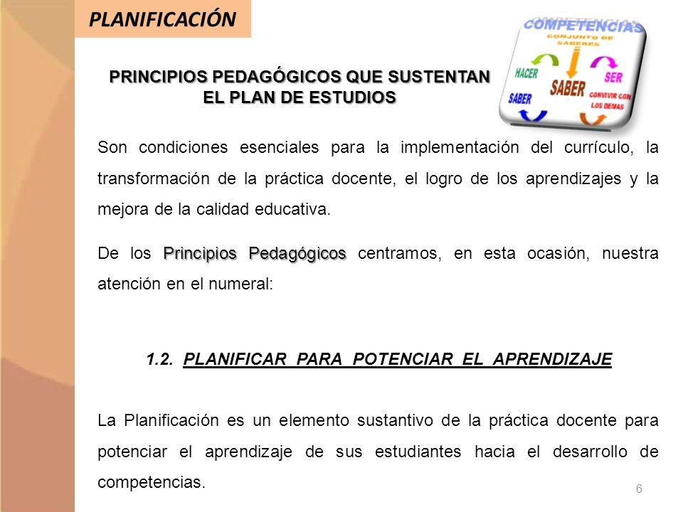 PLANIFICACIÓN PRINCIPIOS PEDAGÓGICOS QUE SUSTENTAN EL PLAN DE ESTUDIOS Son condiciones esenciales para la implementación del currículo, la transformac