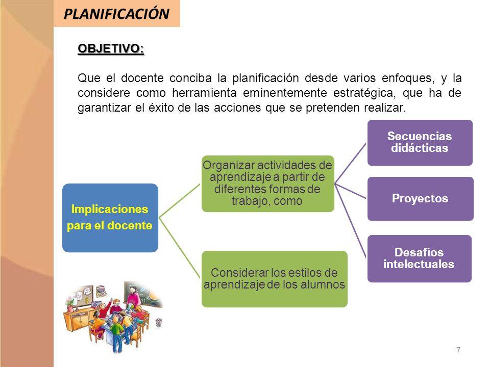 PLANIFICACIÓNOBJETIVO: Que el docente conciba la planificación desde varios enfoques, y la considere como herramienta eminentemente estratégica, que h