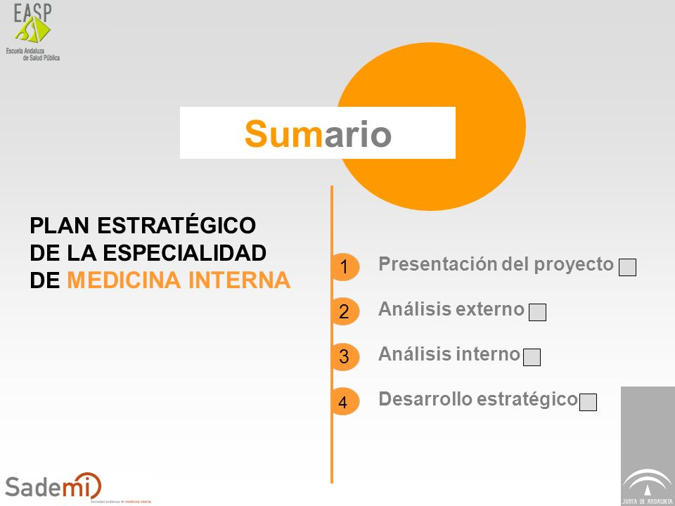 Plan Estratégico de Medicina Interna Sumario PLAN ESTRATÉGICO DE LA ESPECIALIDAD DE MEDICINA INTERNA Presentación del proyecto Análisis externo Anális