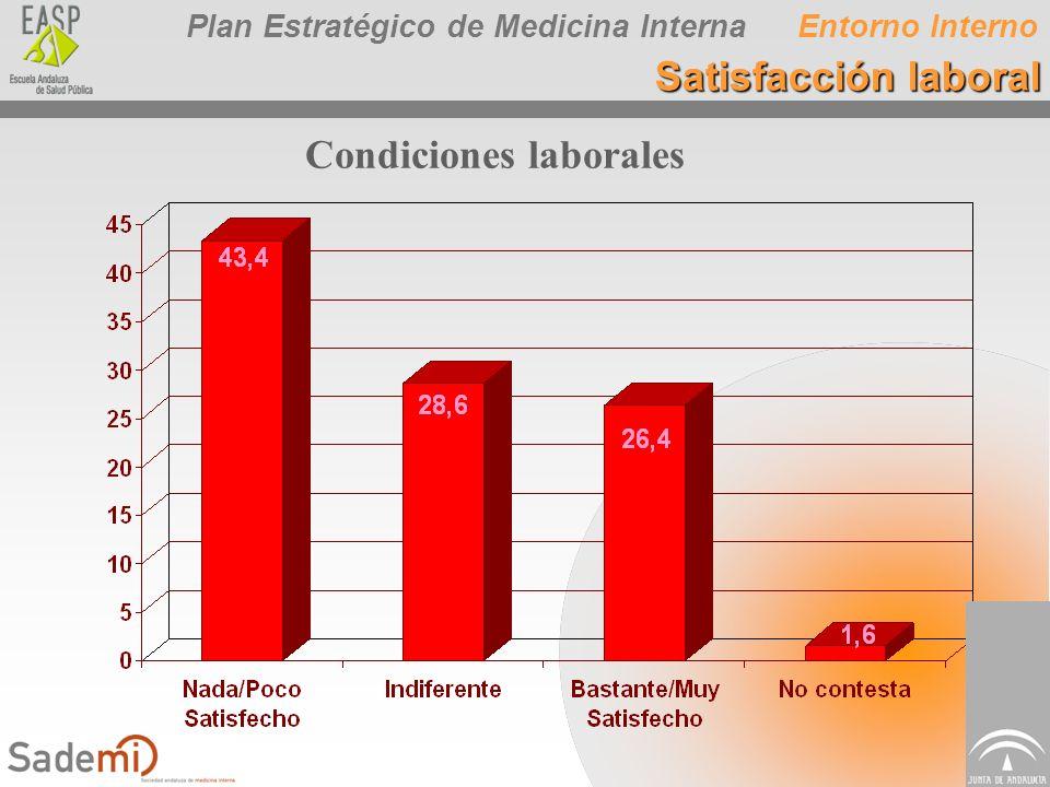 Plan Estratégico de Medicina Interna Condiciones laborales Entorno Interno Satisfacción laboral