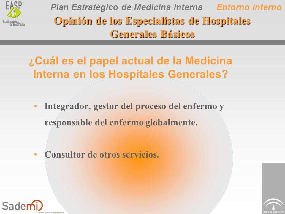 Plan Estratégico de Medicina Interna Opinión de los Especialistas de Hospitales Generales Básicos Integrador, gestor del proceso del enfermo y respons