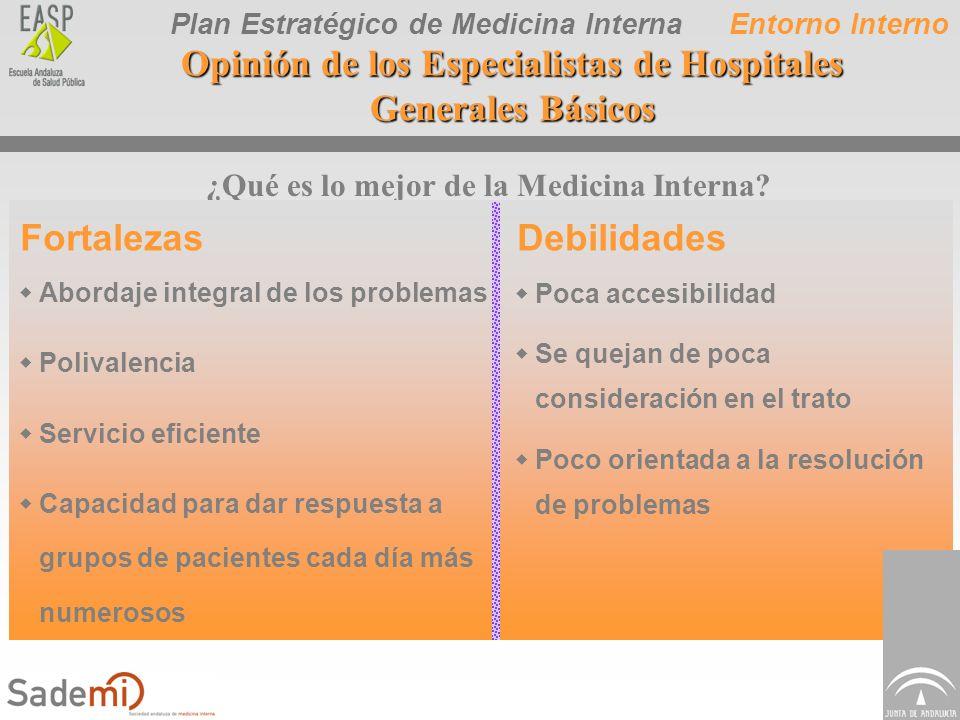 Plan Estratégico de Medicina Interna ¿Qué es lo mejor de la Medicina Interna? FortalezasDebilidades wAbordaje integral de los problemas wPolivalencia