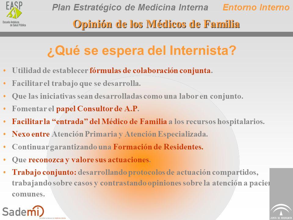 Plan Estratégico de Medicina Interna Utilidad de establecer fórmulas de colaboración conjunta. Facilitar el trabajo que se desarrolla. Que las iniciat