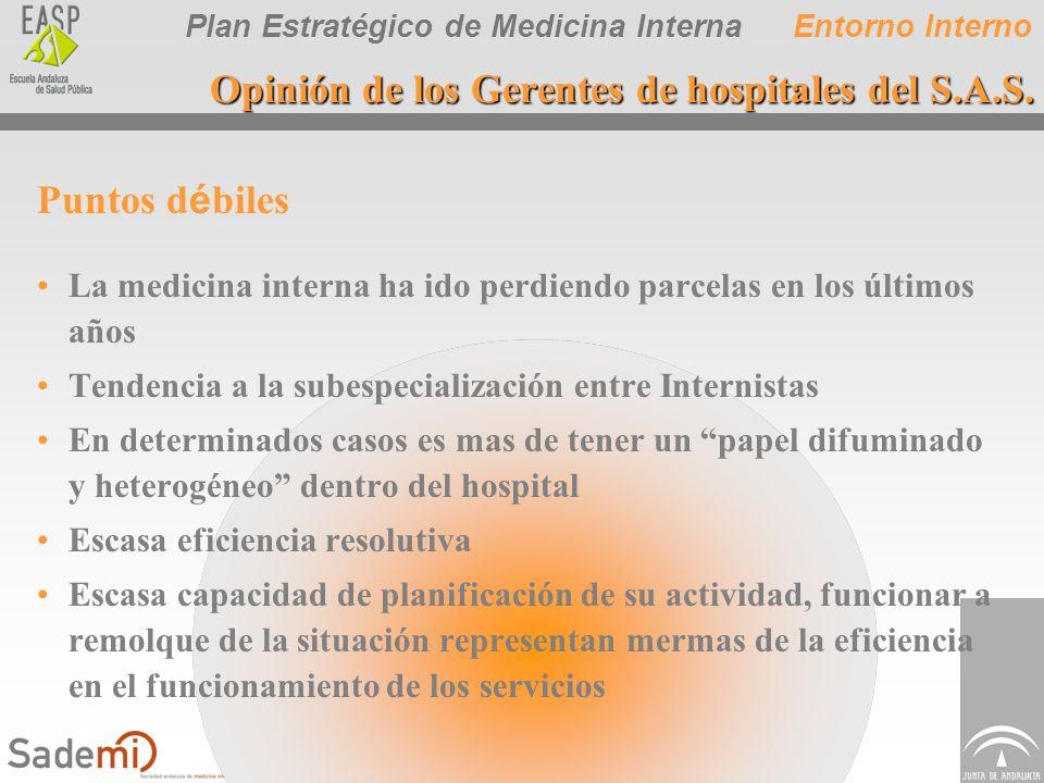 Plan Estratégico de Medicina Interna Puntos d é biles La medicina interna ha ido perdiendo parcelas en los últimos años Tendencia a la subespecializac