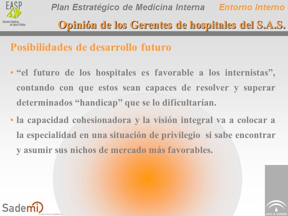 Plan Estratégico de Medicina Interna Posibilidades de desarrollo futuro el futuro de los hospitales es favorable a los internistas, contando con que e