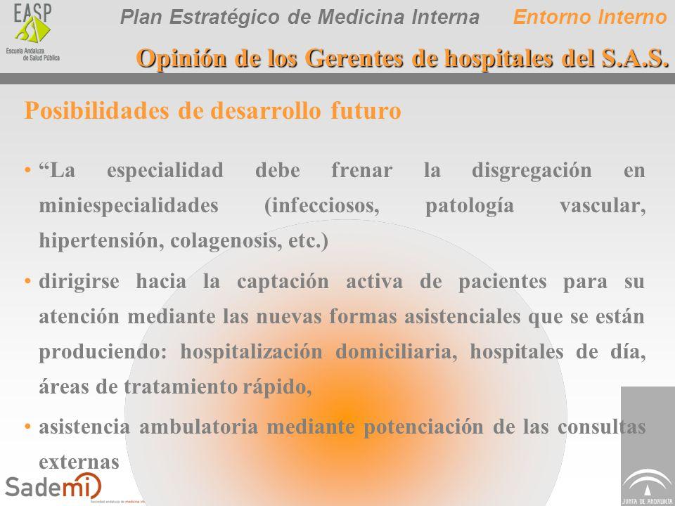 Plan Estratégico de Medicina Interna Posibilidades de desarrollo futuro La especialidad debe frenar la disgregación en miniespecialidades (infecciosos