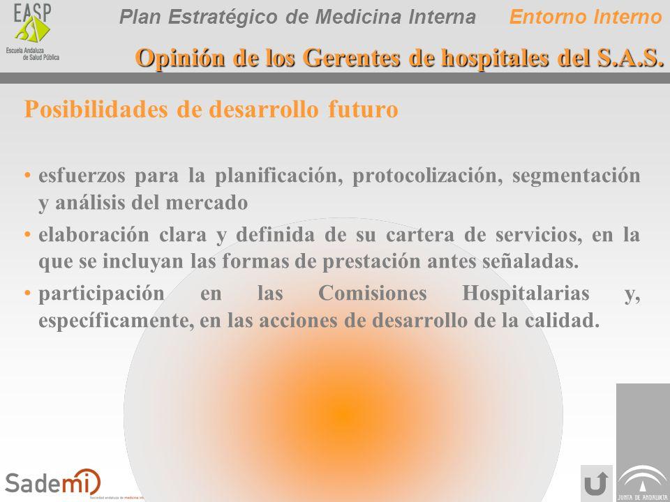 Plan Estratégico de Medicina Interna Posibilidades de desarrollo futuro esfuerzos para la planificación, protocolización, segmentación y análisis del
