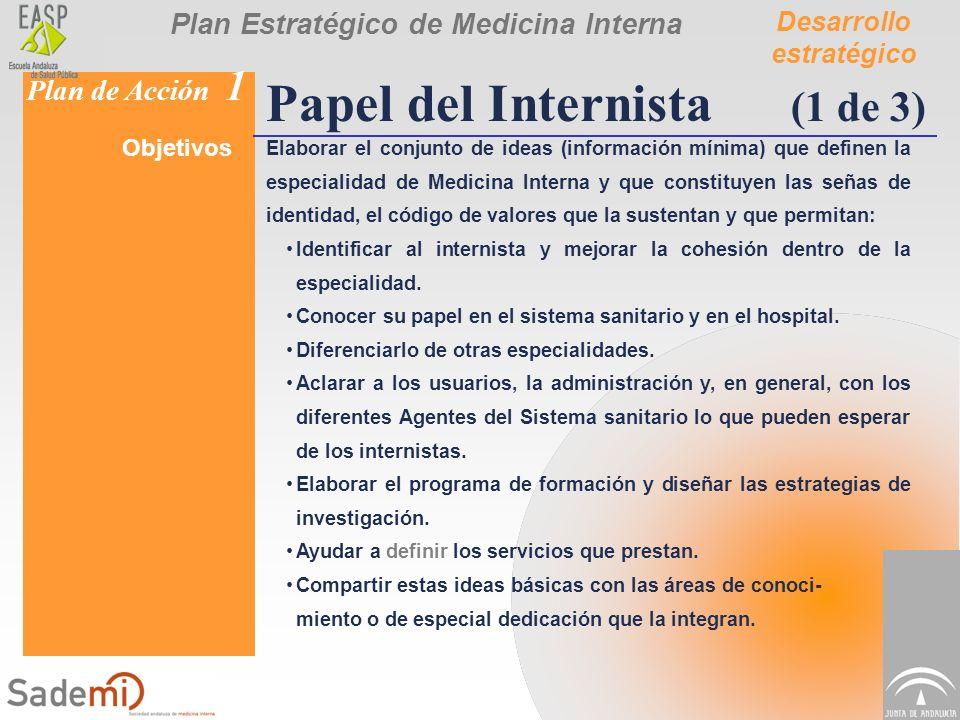 Plan Estratégico de Medicina Interna Plan de Acción 1 Papel del Internista (1 de 3) Objetivos Elaborar el conjunto de ideas (información mínima) que d
