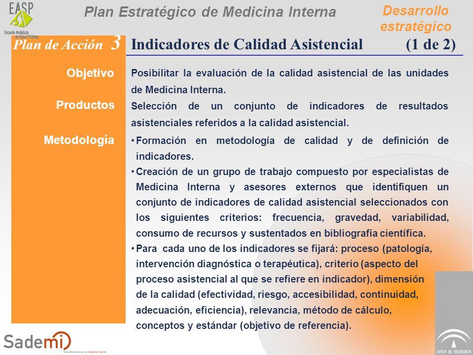 Plan Estratégico de Medicina Interna Desarrollo estratégico Plan de Acción 3 Indicadores de Calidad Asistencial(1 de 2) Objetivo Posibilitar la evalua