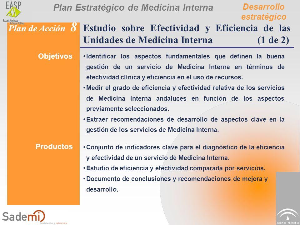 Plan Estratégico de Medicina Interna Desarrollo estratégico Plan de Acción 8 Estudio sobre Efectividad y Eficiencia de las Unidades de Medicina Intern