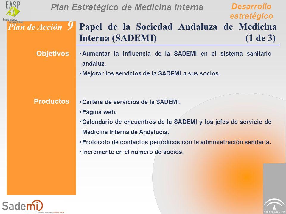 Plan Estratégico de Medicina Interna Desarrollo estratégico Plan de Acción 9 Papel de la Sociedad Andaluza de Medicina Interna (SADEMI)(1 de 3) Objeti
