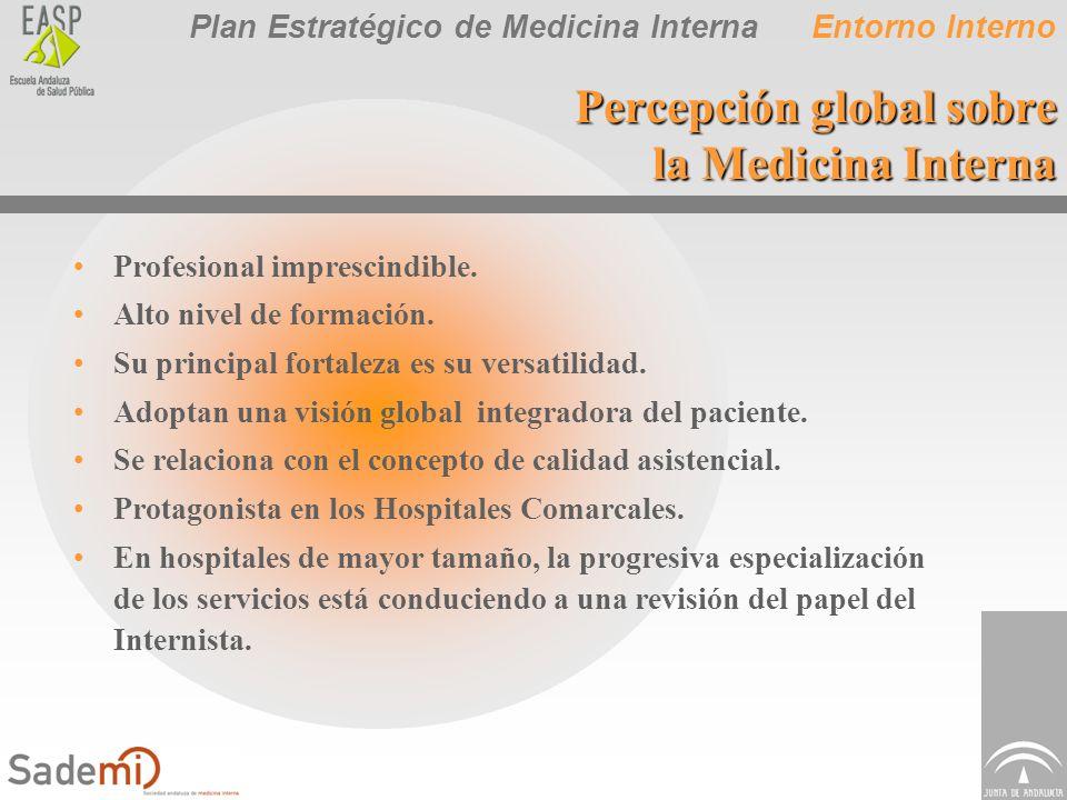 Plan Estratégico de Medicina Interna Percepción global sobre la Medicina Interna Profesional imprescindible. Alto nivel de formación. Su principal for