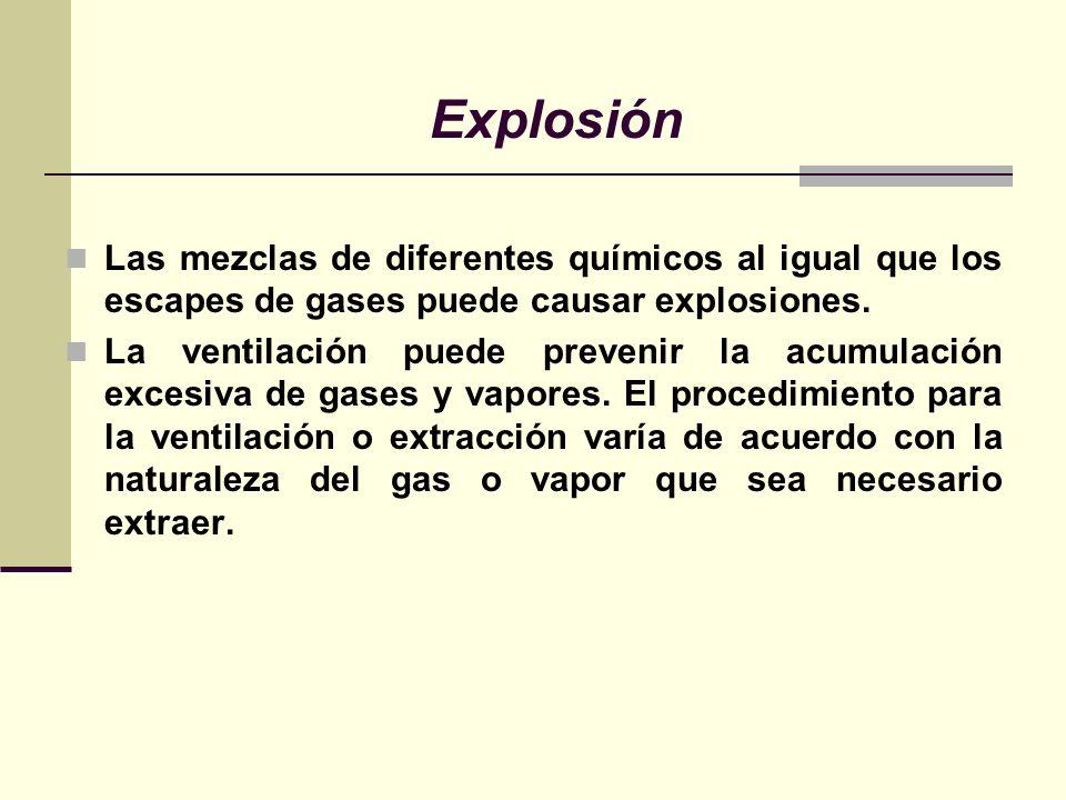 Explosión Las mezclas de diferentes químicos al igual que los escapes de gases puede causar explosiones. La ventilación puede prevenir la acumulación