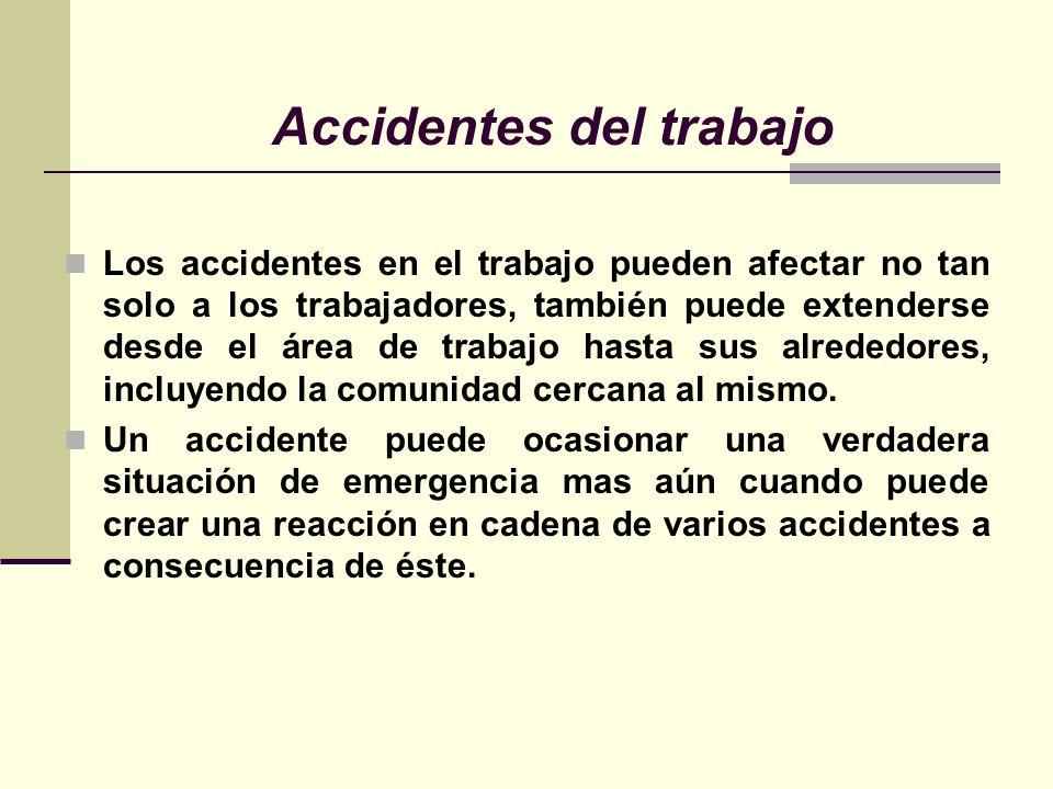 Accidentes del trabajo Los accidentes en el trabajo pueden afectar no tan solo a los trabajadores, también puede extenderse desde el área de trabajo hasta sus alrededores, incluyendo la comunidad cercana al mismo.