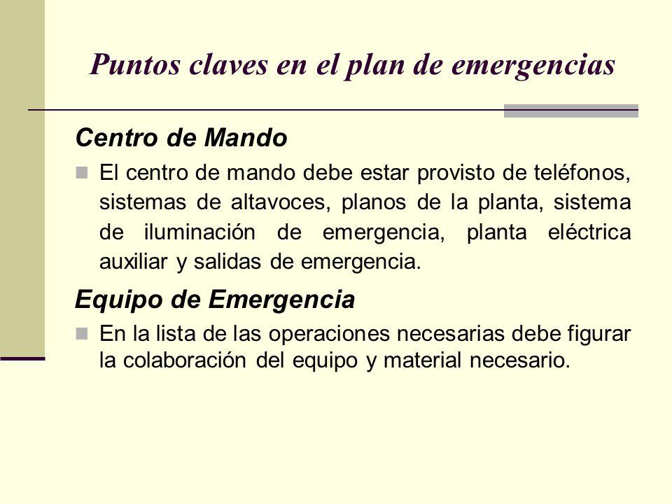 Puntos claves en el plan de emergencias Centro de Mando El centro de mando debe estar provisto de teléfonos, sistemas de altavoces, planos de la planta, sistema de iluminación de emergencia, planta eléctrica auxiliar y salidas de emergencia.