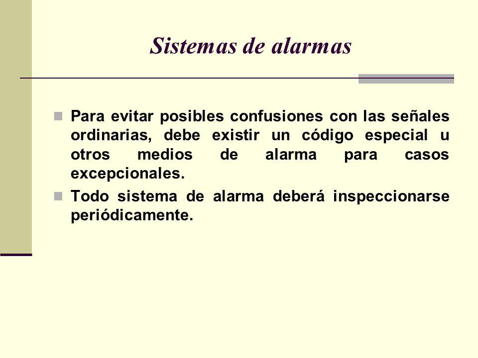 Sistemas de alarmas Para evitar posibles confusiones con las señales ordinarias, debe existir un código especial u otros medios de alarma para casos excepcionales.