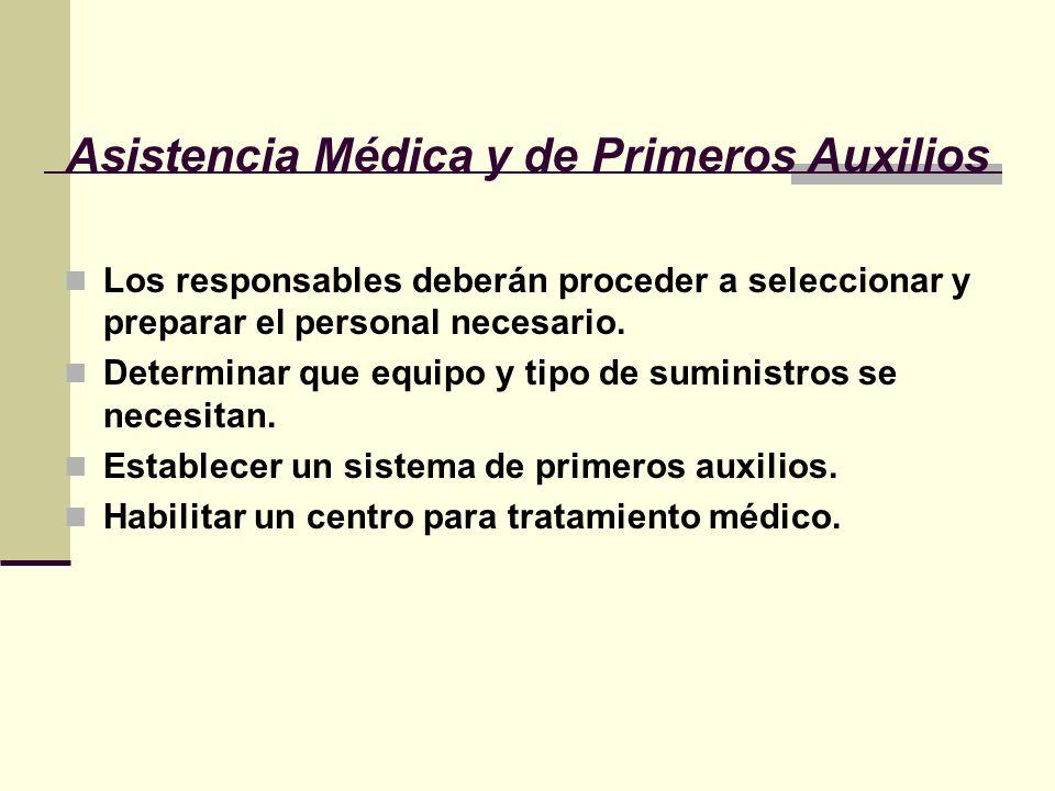Asistencia Médica y de Primeros Auxilios Los responsables deberán proceder a seleccionar y preparar el personal necesario. Determinar que equipo y tip