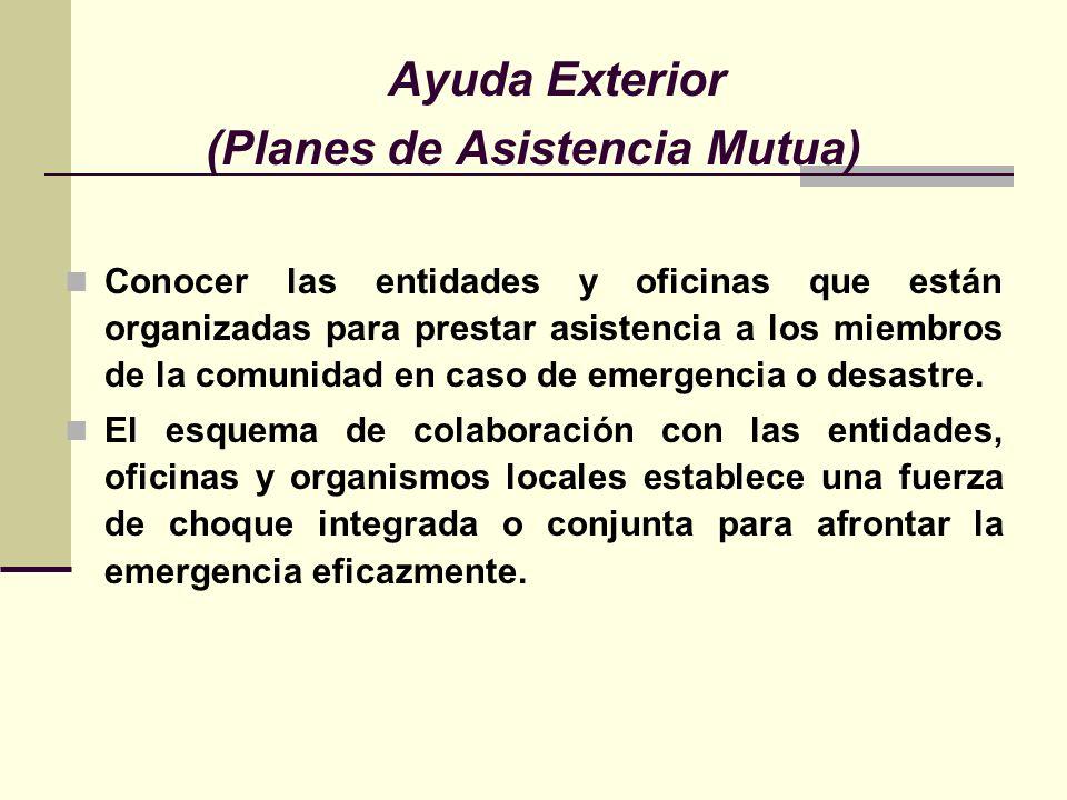 Ayuda Exterior (Planes de Asistencia Mutua) Conocer las entidades y oficinas que están organizadas para prestar asistencia a los miembros de la comunidad en caso de emergencia o desastre.