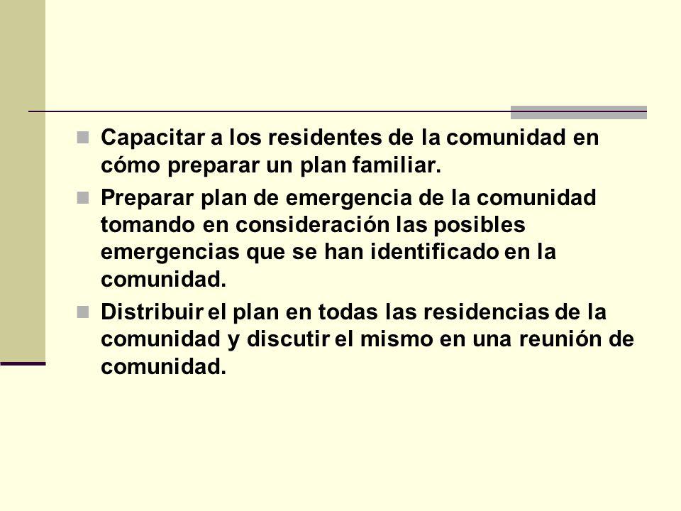 Capacitar a los residentes de la comunidad en cómo preparar un plan familiar. Preparar plan de emergencia de la comunidad tomando en consideración las
