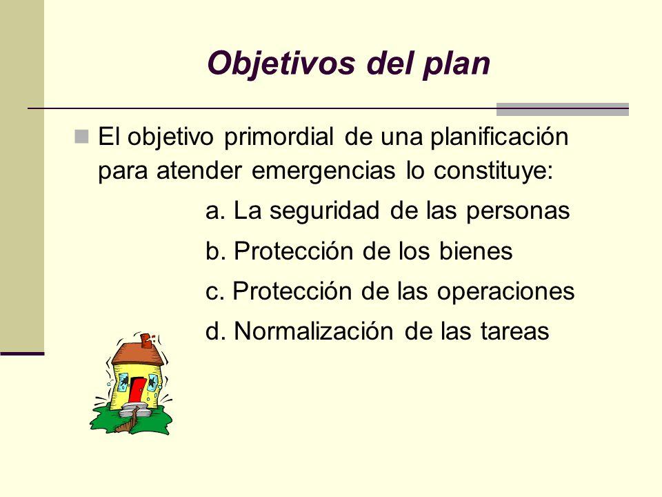 Objetivos del plan El objetivo primordial de una planificación para atender emergencias lo constituye: a. La seguridad de las personas b. Protección d