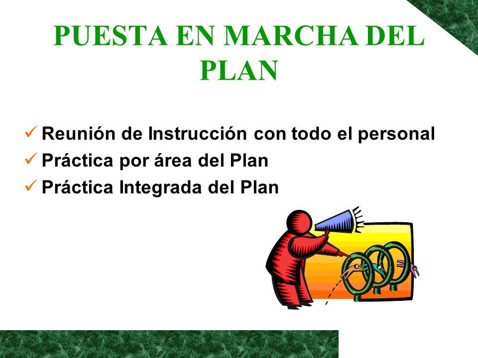 PUESTA EN MARCHA DEL PLAN Reunión de Instrucción con todo el personal Práctica por área del Plan Práctica Integrada del Plan
