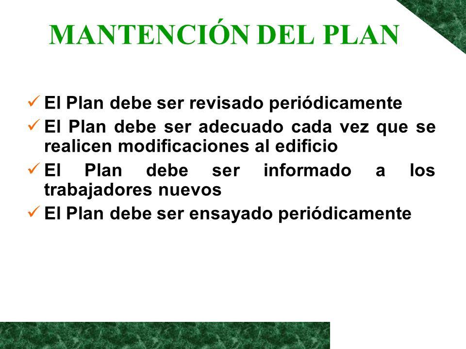 MANTENCIÓN DEL PLAN El Plan debe ser revisado periódicamente El Plan debe ser adecuado cada vez que se realicen modificaciones al edificio El Plan deb