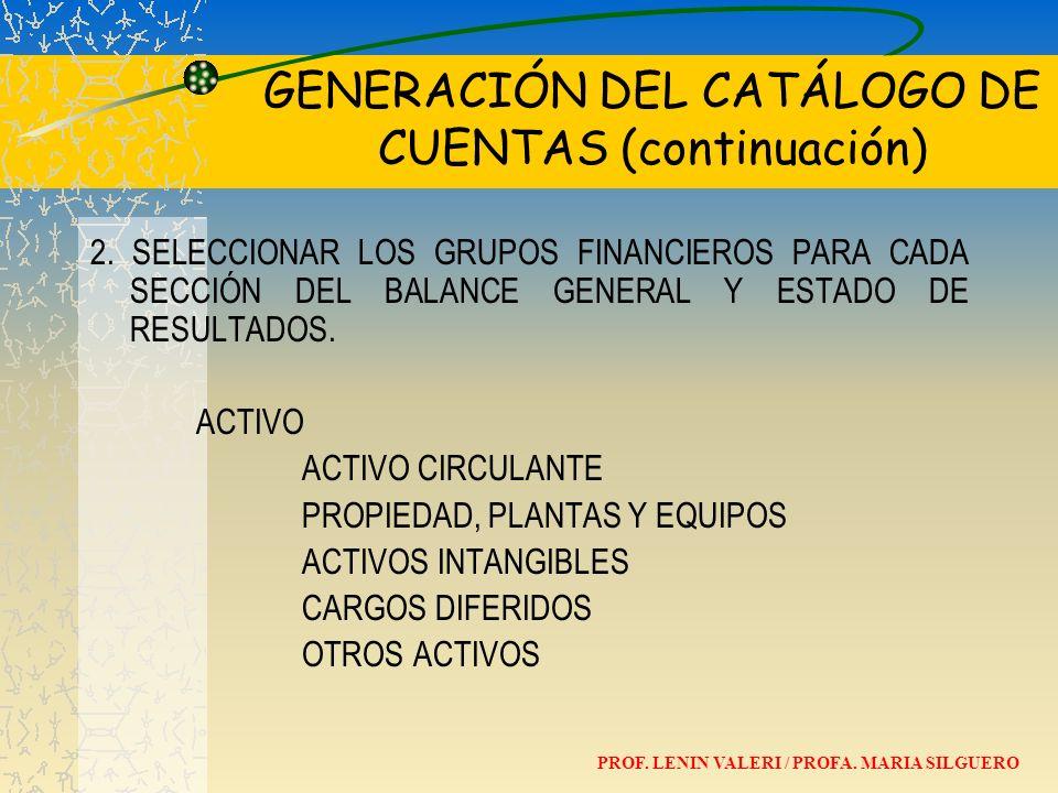 GENERACIÓN DEL CATÁLOGO DE CUENTAS (continuación) 2. SELECCIONAR LOS GRUPOS FINANCIEROS PARA CADA SECCIÓN DEL BALANCE GENERAL Y ESTADO DE RESULTADOS.