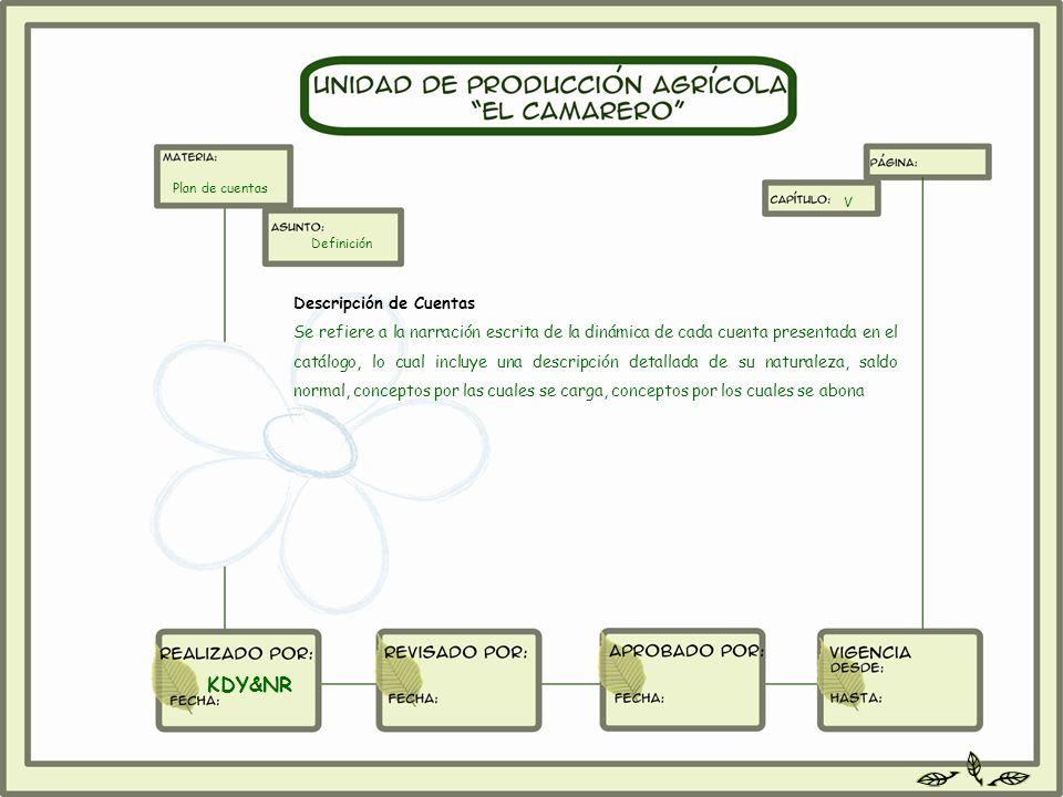 Descripción de Cuentas Se refiere a la narración escrita de la dinámica de cada cuenta presentada en el catálogo, lo cual incluye una descripción deta