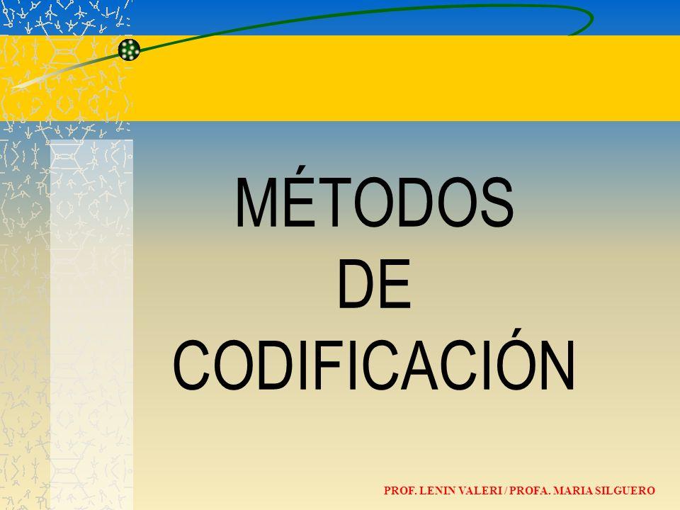 MÉTODOS DE CODIFICACIÓN PROF. LENIN VALERI / PROFA. MARIA SILGUERO