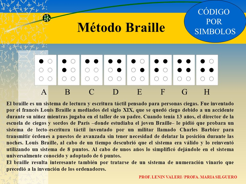 CÓDIGO POR SIMBOLOS A B C D E F G H Método Braille El braille es un sistema de lectura y escritura táctil pensado para personas ciegas. Fue inventado