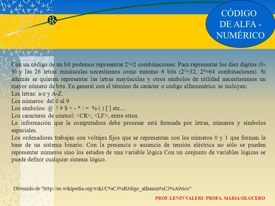 CÓDIGO DE ALFA - NUMÉRICO PROF. LENIN VALERI / PROFA. MARIA SILGUERO Con un código de un bit podemos representar 2¹=2 combinaciones. Para representar