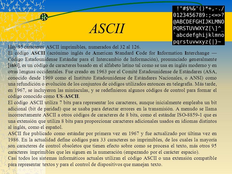 Hay 95 caracteres ASCII imprimibles, numerados del 32 al 126. El código ASCII (acrónimo inglés de American Standard Code for Information Interchange C