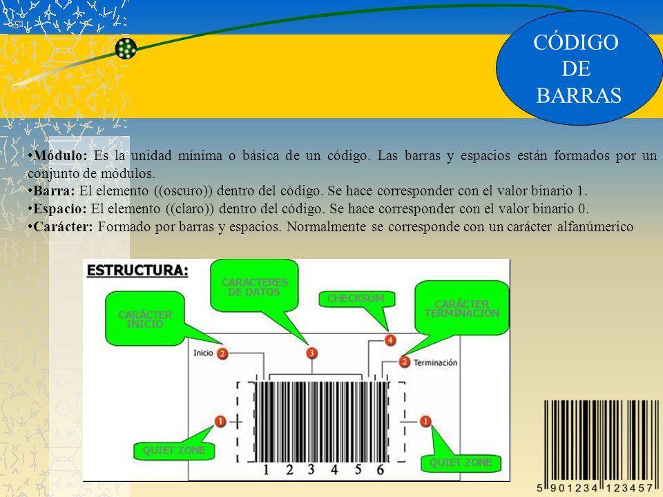 CÓDIGO DE BARRAS Módulo: Es la unidad mínima o básica de un código. Las barras y espacios están formados por un conjunto de módulos. Barra: El element